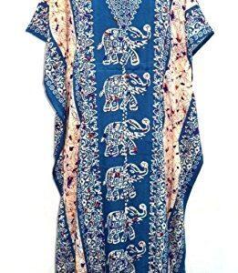 Abaya sukienka niebiesko kolorowa, wzory M/L (A066)