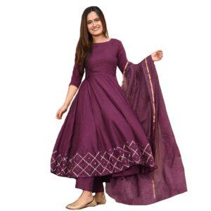 Sukienka plus szal kolor śliwka  L/XL  Indie A106