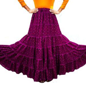 Spódnica długa fioletowa wzory falbany Indie A058