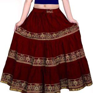 Spódnica ciemno czerwona złote wzory falbany Indie A062