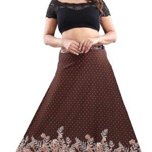 Spódnica brązowa długa kwiaty Indie A057