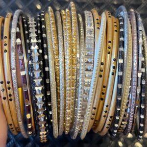 Bangle zestaw bransoletek złot/srebro/czerń   6,5  (A128)