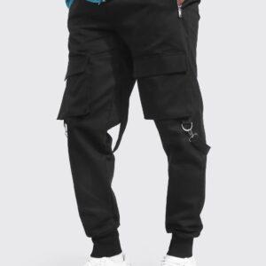 Spodnie firmowe, kieszenie M/L czarne (A045)