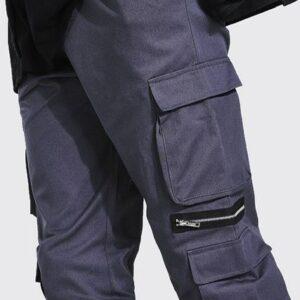 Spodnie firmowe, kieszenie S/M szare A046