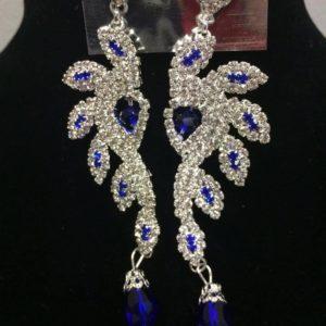 Kolczyki srebrno niebieskie cyrkonie