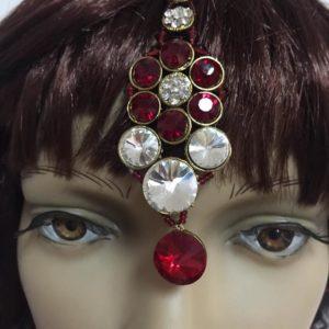 Duzy komplet bizuterii czerwono srebrny 546