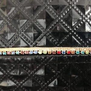 Bransoletka noga zlota kolorowe cyrkonie