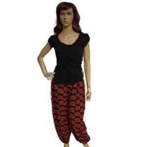 Spodnie bawelna czern czerwien