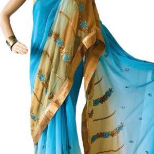 Sari cieniowane niebiesko bezowe ze zlotem 006