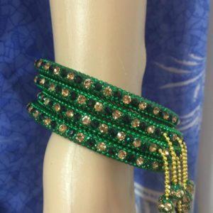 Bransoletki 4 szt zielone z cyrkoniami 6,5 cm