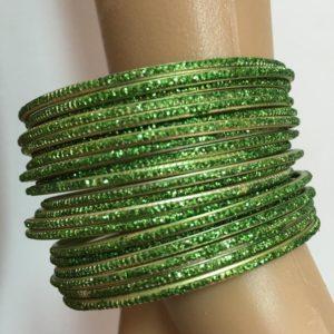 Bransoletki 18 szt bangle zielone brokatowe 6,5 cm