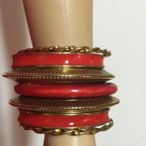 Komplet bransoletek zloto czerwonych 6,5 cm