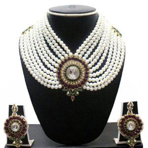 Komplet bizuterii 2 czesci perly cyrkonie 544