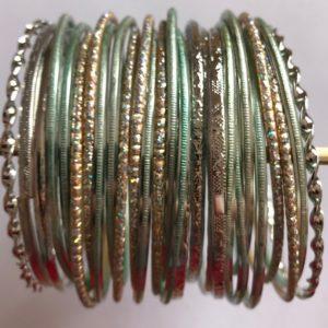 Bransoletki bangle srebrno seledynowe 6,7 cm