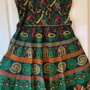 Sukienka bawelna zielona we wzory 215