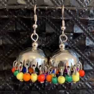 Kolczyki jhumki srebrno kolorowe