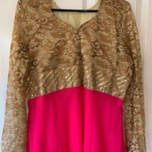 Sukienka rozowa ze zlotem M/L (212)