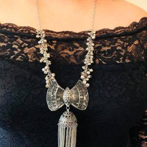 Naszyjnik stare srebro dzwonki, lancuszki 670