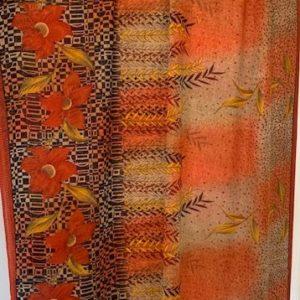 Sari kolorowe, wzor kwiaty, liscie 074