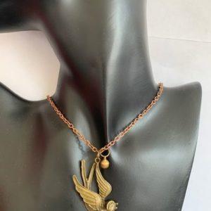 Naszyjnik z lancuszkiem – ptak, dzwoneczek 682