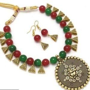 Komplet bizuterii Ganesh zielen czerwien zloto 492