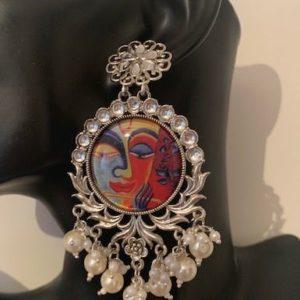 Kolczyki duze srebrne z wizerunkiem Krishny