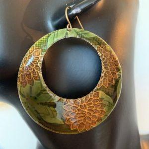 Kolczyki metalowe braz zielen