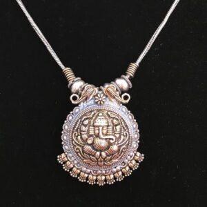 Naszyjnik z Ganeshem zloto srebrny 488