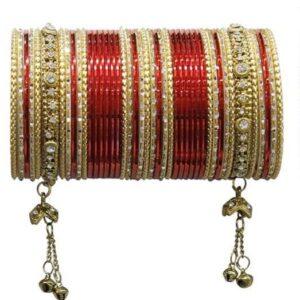 Bangle zloto czerwone, dzwoneczki  6,5 cm T105
