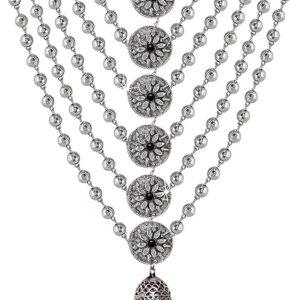 Komplet bizuterii  srebrny tribal kuleczki  jhumki T121