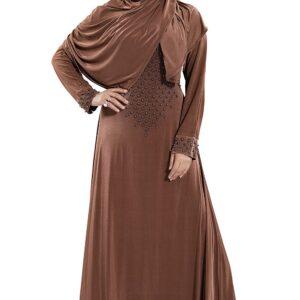 Abaya brazowa ze zlotem szal oslona  T70