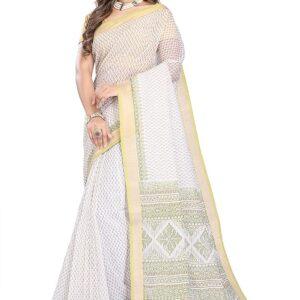 Sari biale kolorowe wzory bawelna  T177