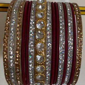 Bangle bordo czerwien srebro, zloto, cyrkonie 6,3 cm T183