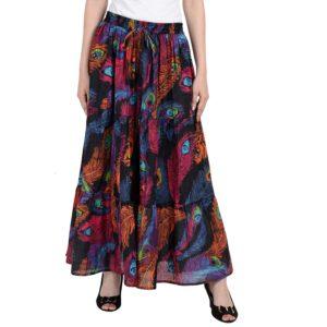 Spódnica kolorowa pawie pióra bawełna Indie S023