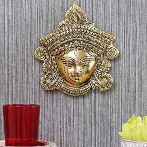 Wisząca twarz Matha Kali metal złota Indie S005