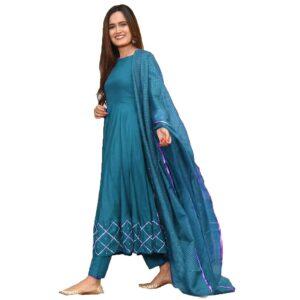 Sukienka plus szal ciemno niebieskie M/L  Indie S049