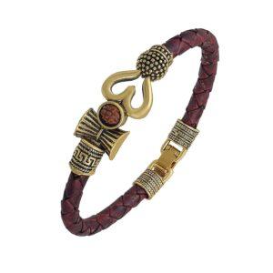 Bransoletka Shiva złoto bazowa z rudraksha A117