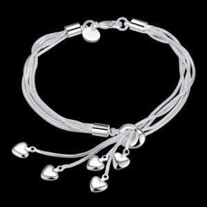 Bransoletka srebrna serduszka  S110