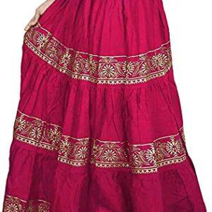 Spódnica różową złote wzory falbany Indie A060