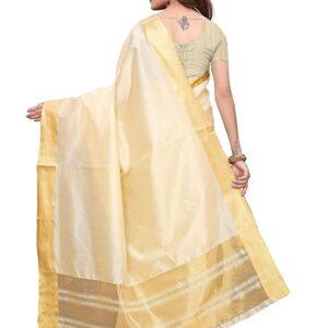 Sari kremowe, złote pasy Indie A107