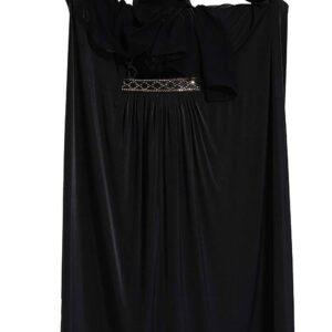 Abaya czarna ozdobiona, szal oslona  A130